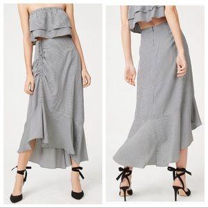 CLUB MONACO Ruanne Ruched Ruffle Gingham Skirt